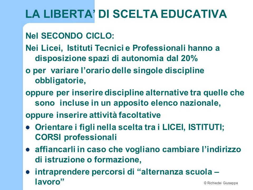 LA LIBERTA' DI SCELTA EDUCATIVA
