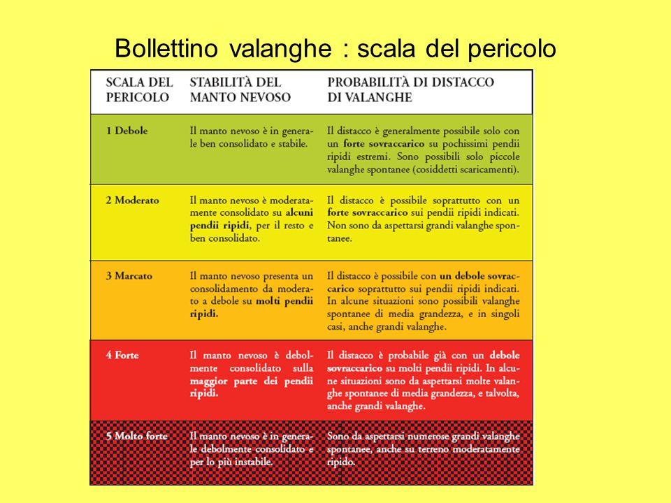 Bollettino valanghe : scala del pericolo