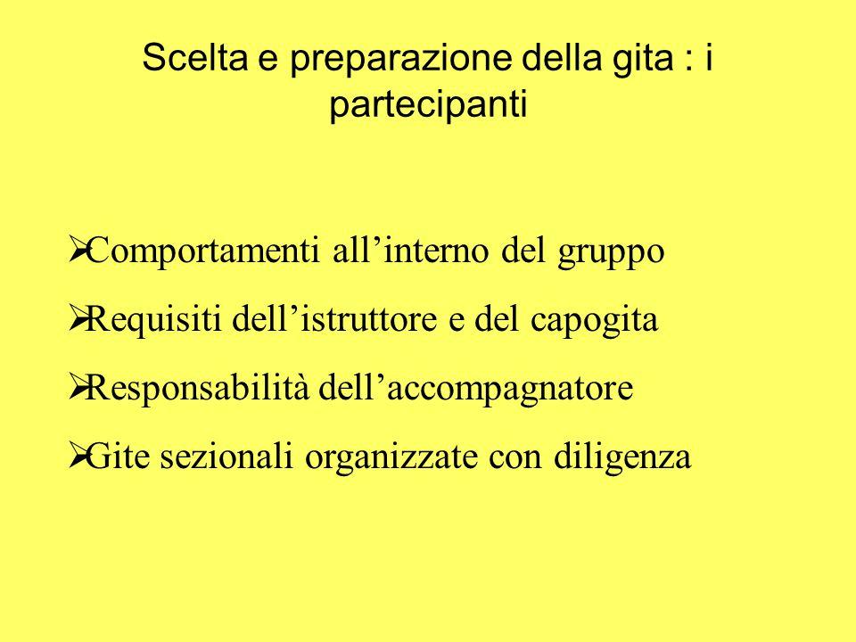 Scelta e preparazione della gita : i partecipanti