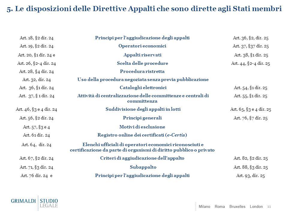 5. Le disposizioni delle Direttive Appalti che sono dirette agli Stati membri