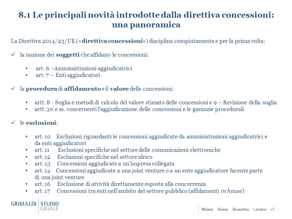 8.1 Le principali novità introdotte dalla direttiva concessioni: una panoramica
