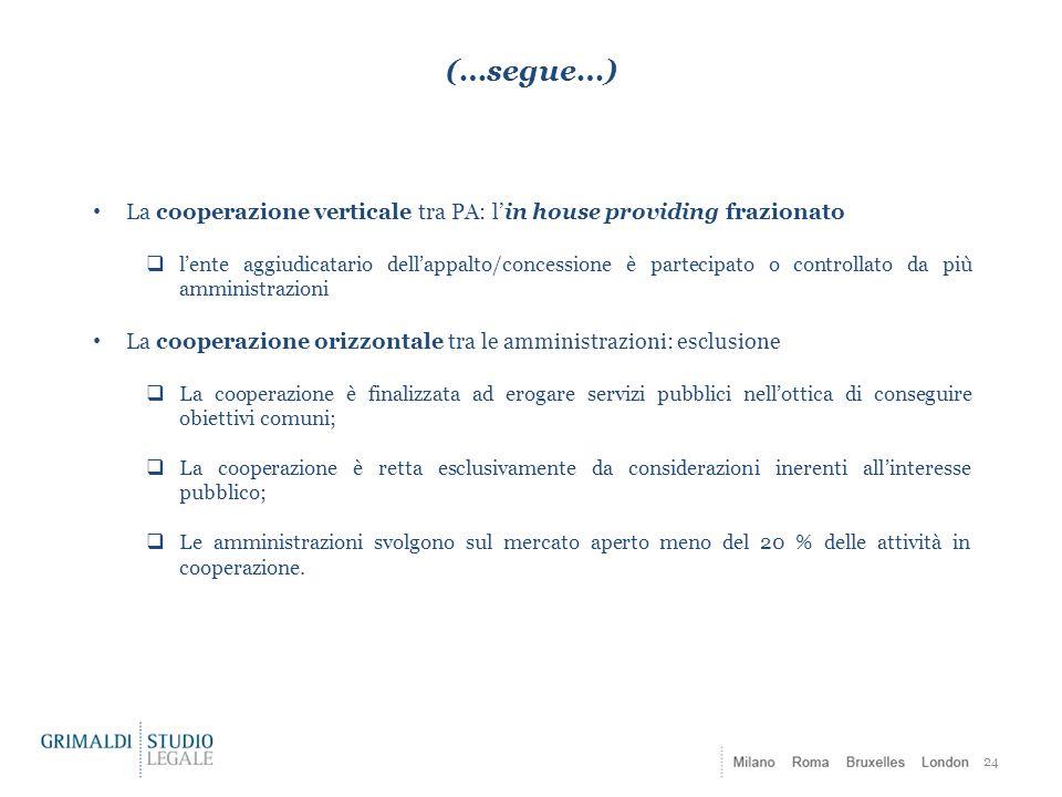 (…segue…) La cooperazione verticale tra PA: l'in house providing frazionato.