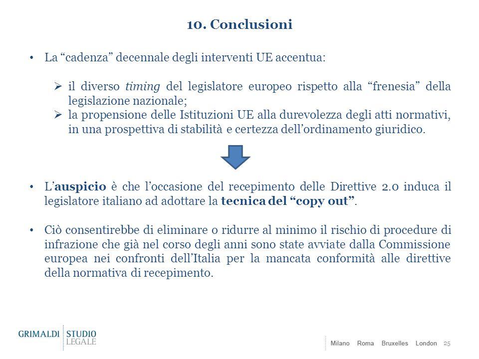 10. Conclusioni La cadenza decennale degli interventi UE accentua:
