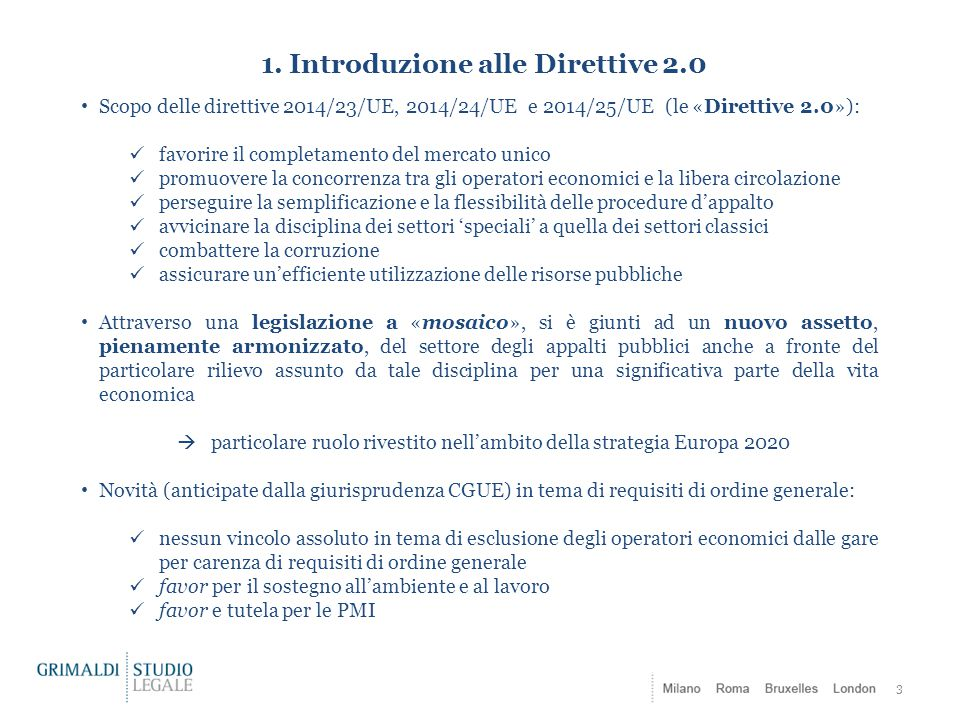 1. Introduzione alle Direttive 2.0