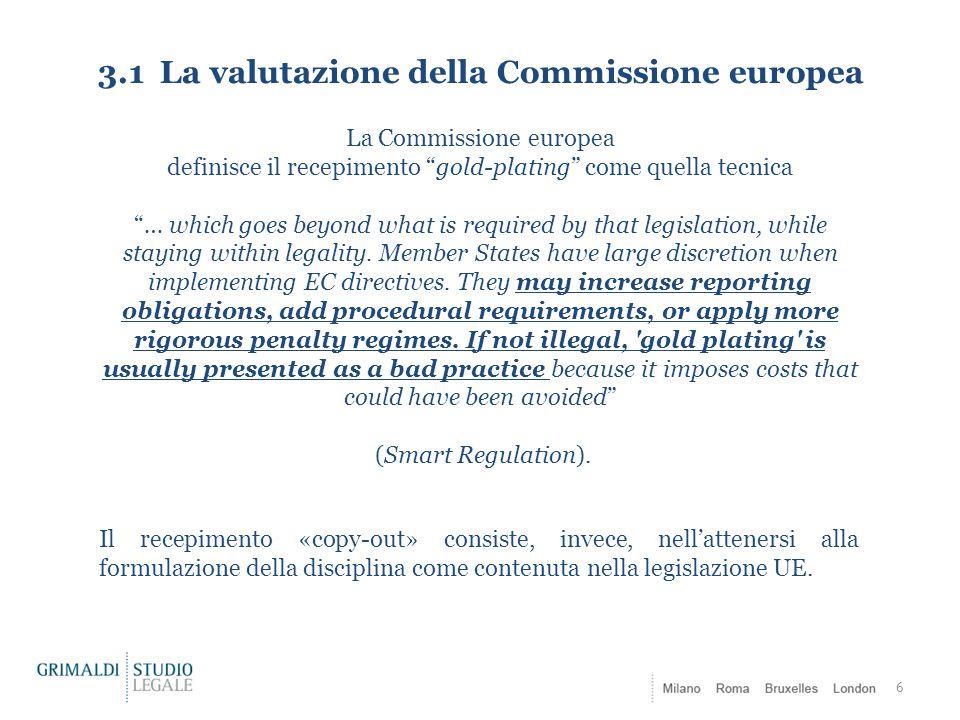 3.1 La valutazione della Commissione europea