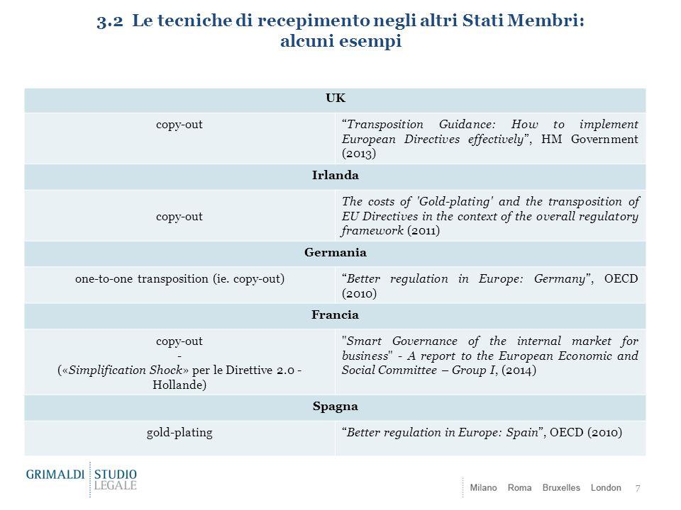 3.2 Le tecniche di recepimento negli altri Stati Membri: alcuni esempi