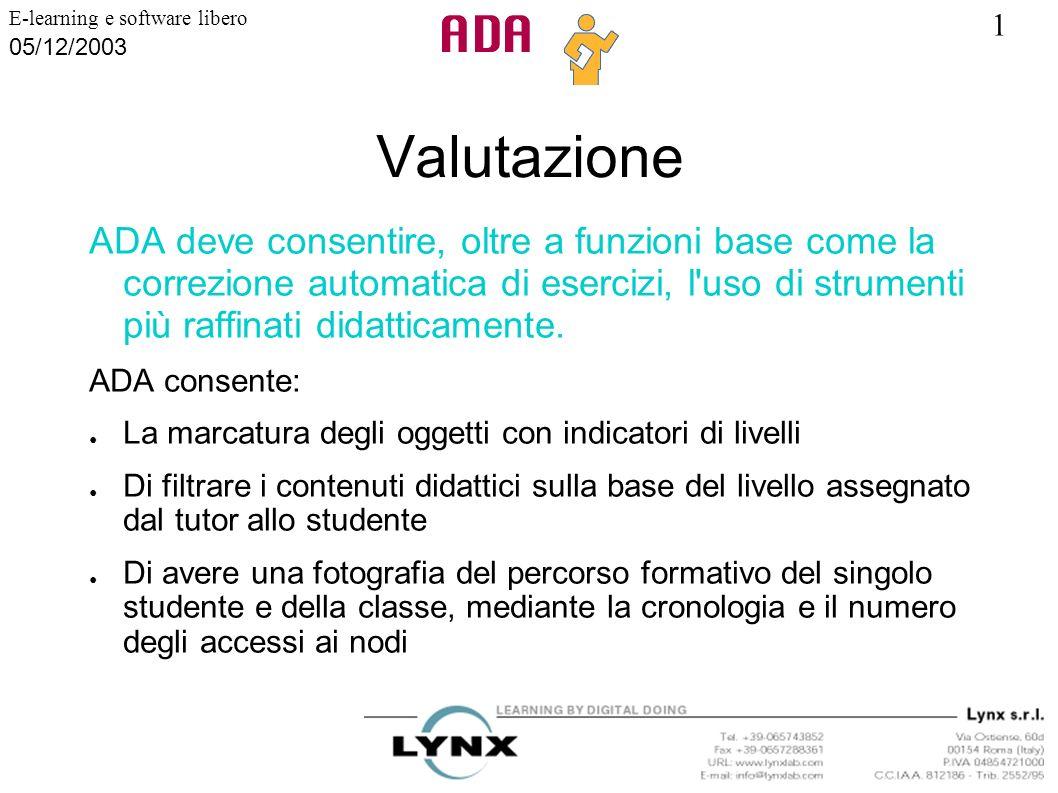 Valutazione ADA deve consentire, oltre a funzioni base come la correzione automatica di esercizi, l uso di strumenti più raffinati didatticamente.