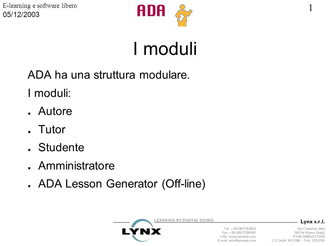 I moduli ADA ha una struttura modulare. I moduli: Autore Tutor