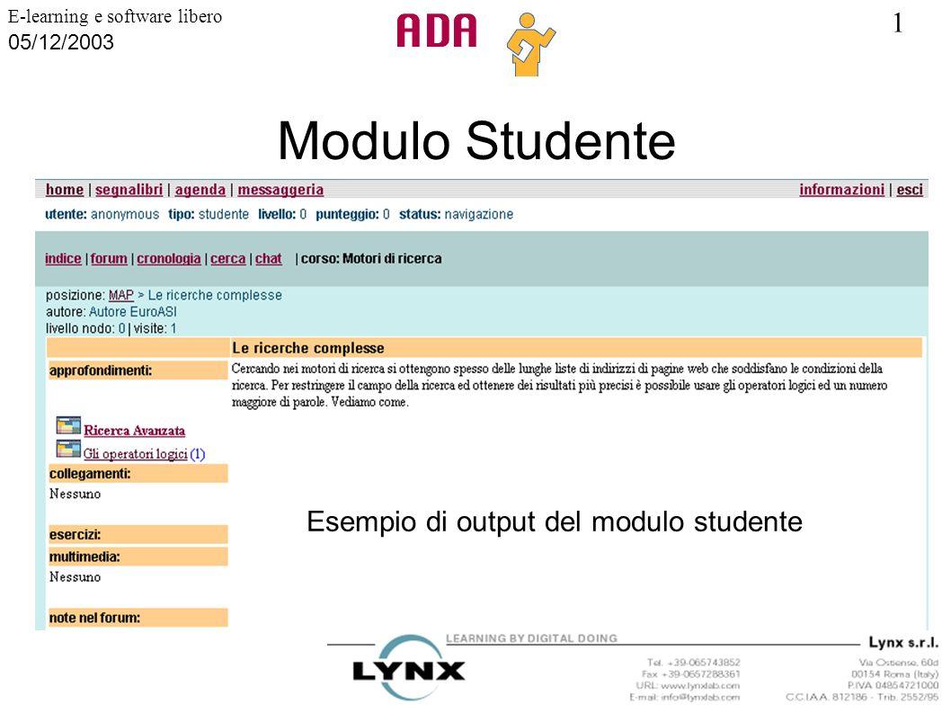 Modulo Studente Esempio di output del modulo studente