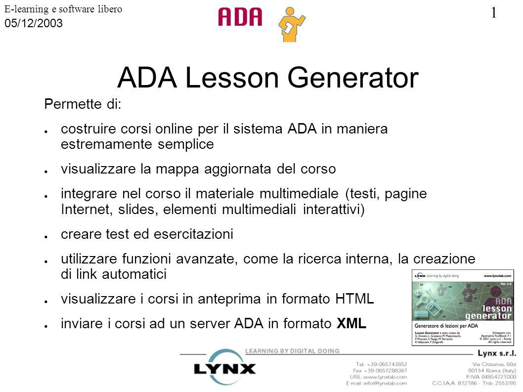 ADA Lesson Generator Permette di: