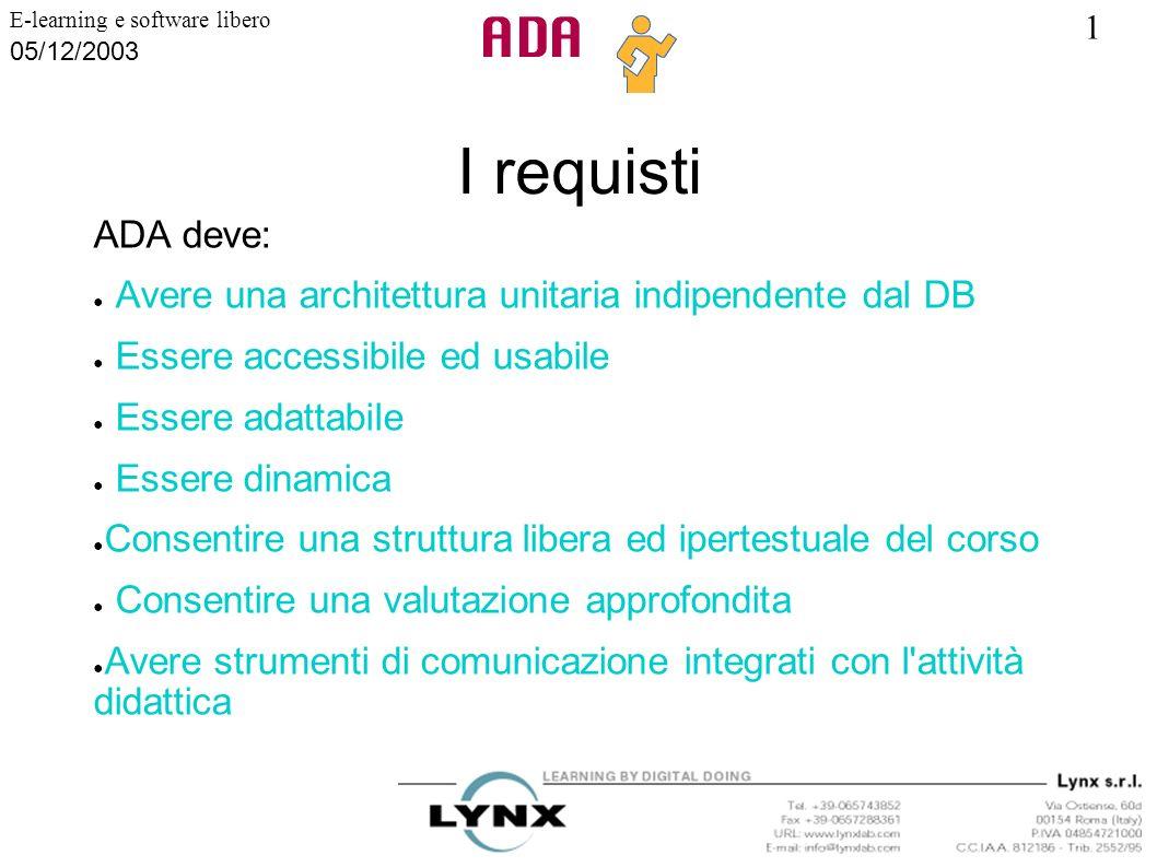 I requisti ADA deve: Avere una architettura unitaria indipendente dal DB. Essere accessibile ed usabile.