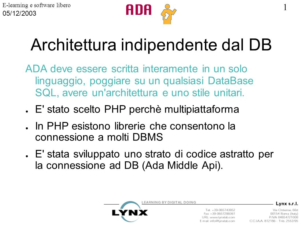 Architettura indipendente dal DB