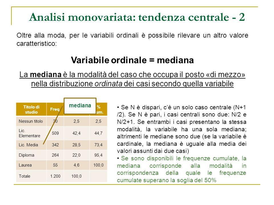 Analisi monovariata: tendenza centrale - 2
