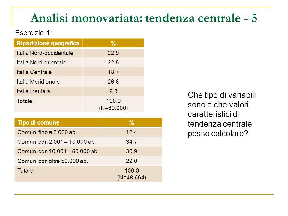 Analisi monovariata: tendenza centrale - 5