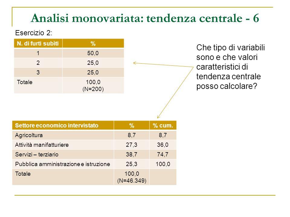 Analisi monovariata: tendenza centrale - 6