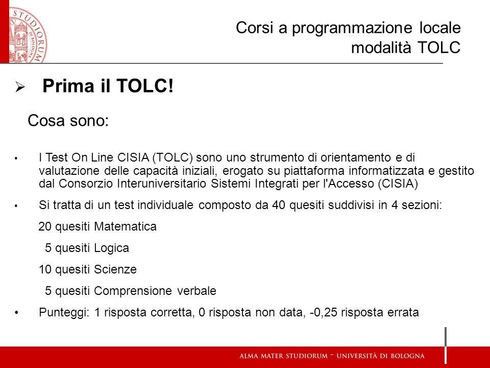 Corsi a programmazione locale modalità TOLC