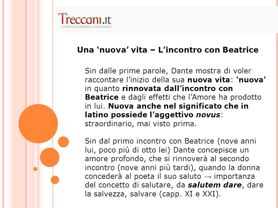 Una 'nuova' vita – L'incontro con Beatrice