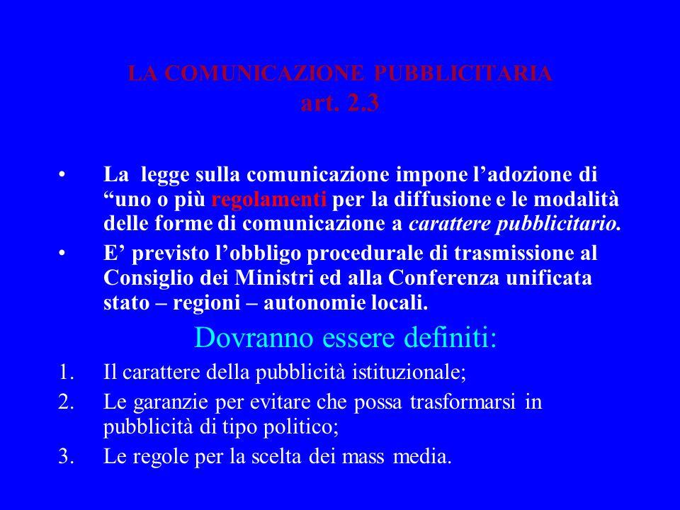 LA COMUNICAZIONE PUBBLICITARIA art. 2.3