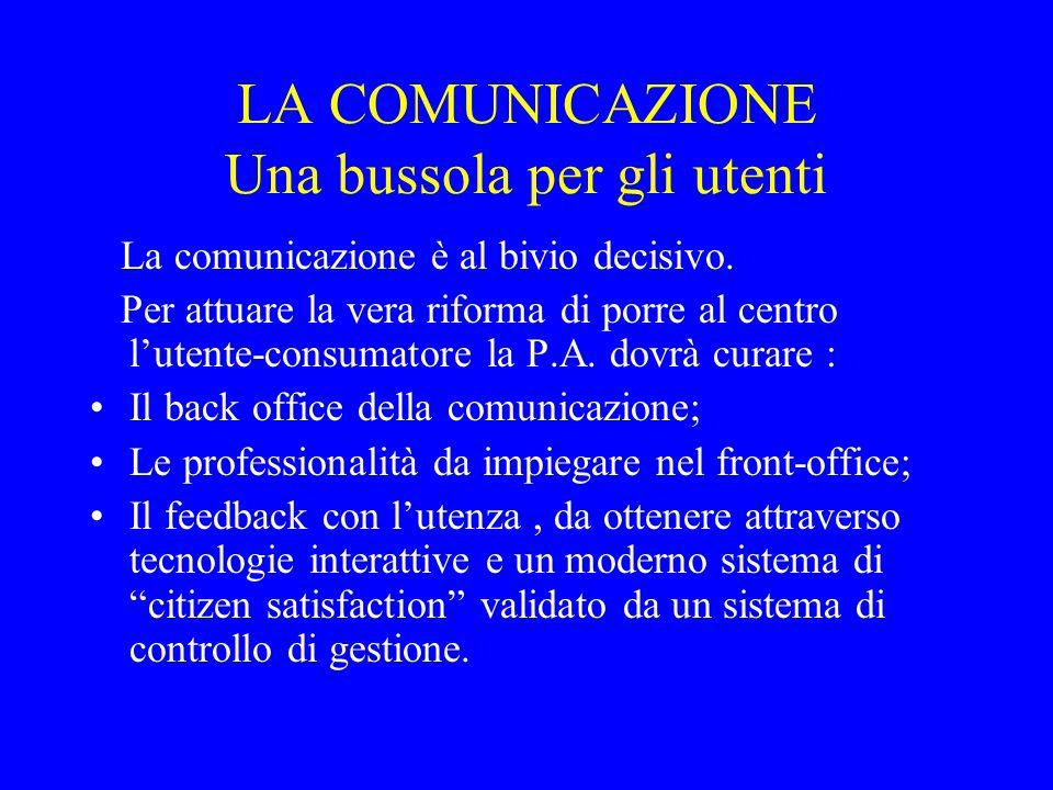 LA COMUNICAZIONE Una bussola per gli utenti