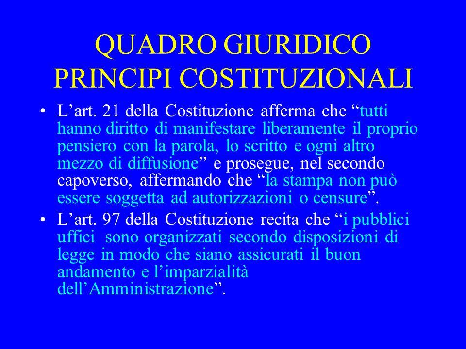 QUADRO GIURIDICO PRINCIPI COSTITUZIONALI