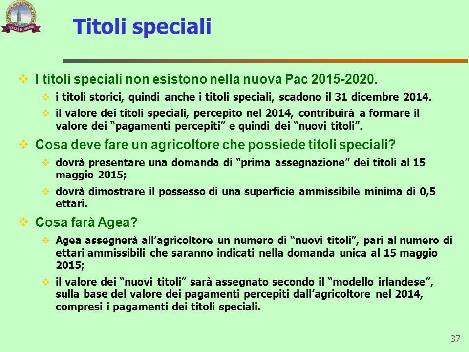 Titoli speciali I titoli speciali non esistono nella nuova Pac 2015-2020.