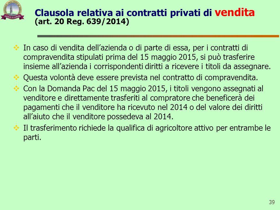 Clausola relativa ai contratti privati di vendita (art. 20 Reg