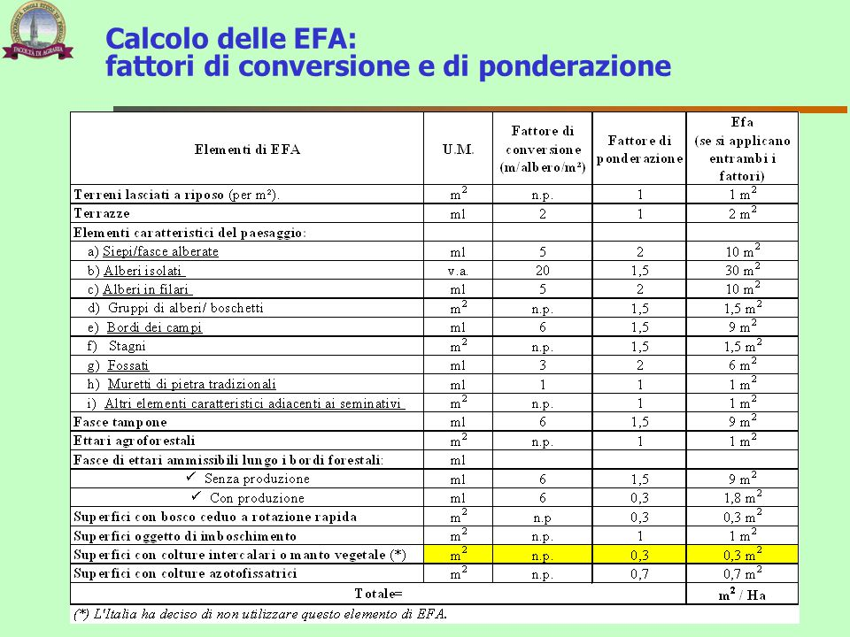 Calcolo delle EFA: fattori di conversione e di ponderazione