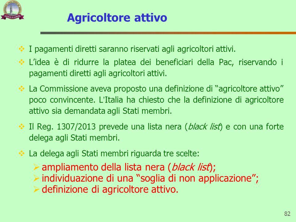 Agricoltore attivo ampliamento della lista nera (black list);