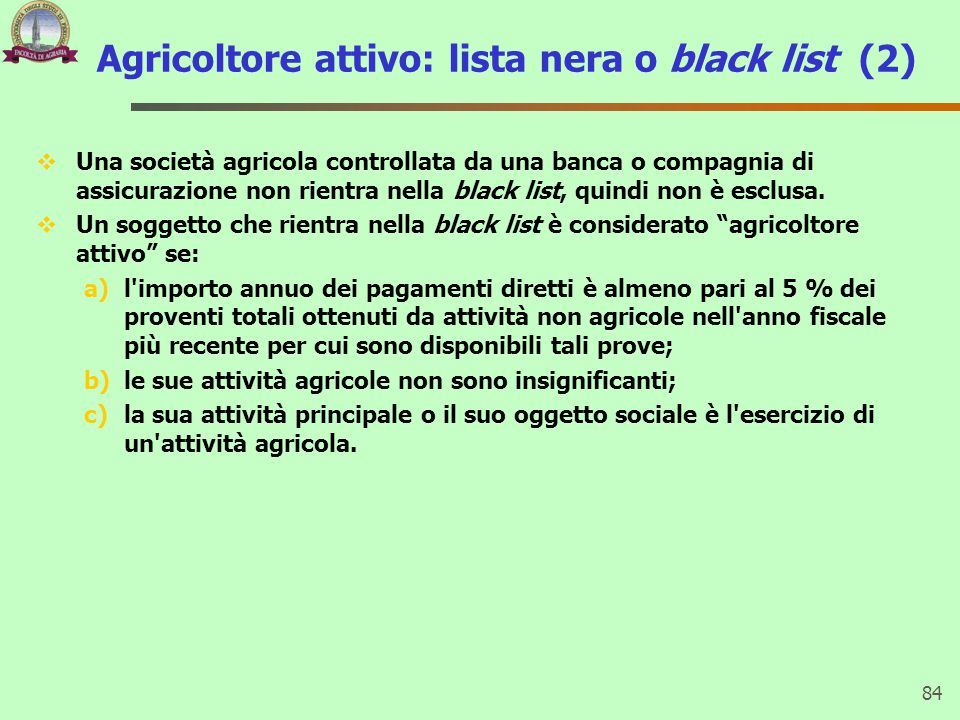 Agricoltore attivo: lista nera o black list (2)