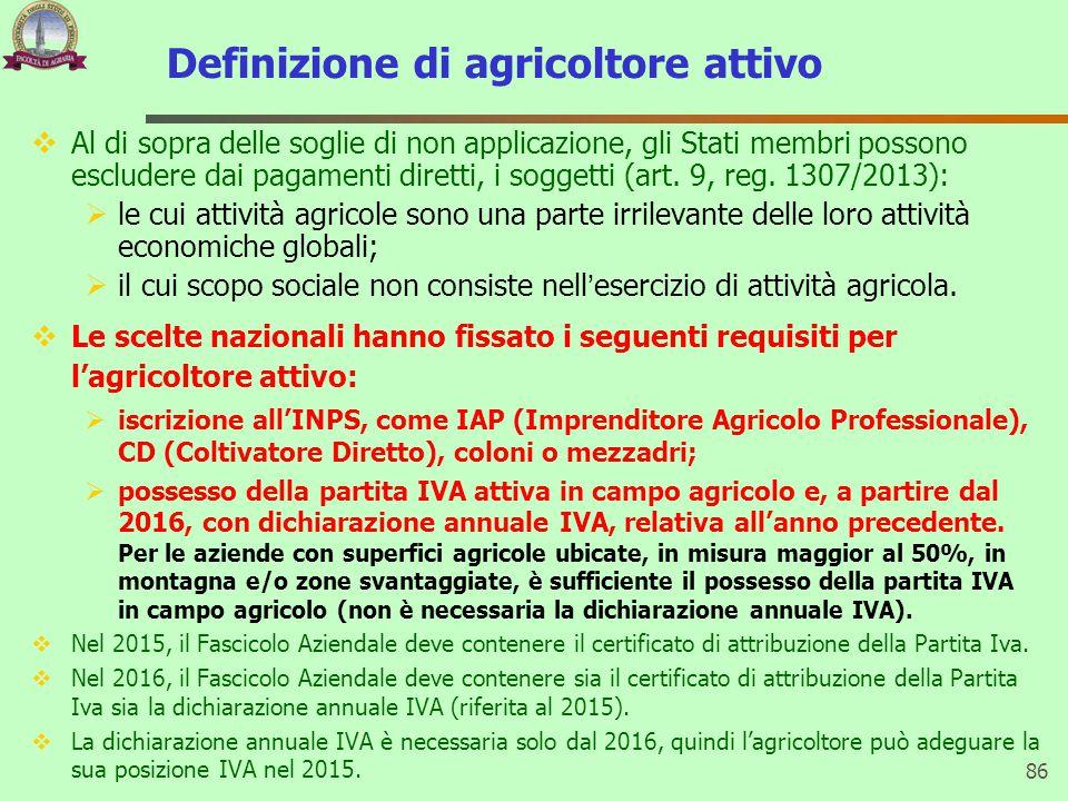 Definizione di agricoltore attivo