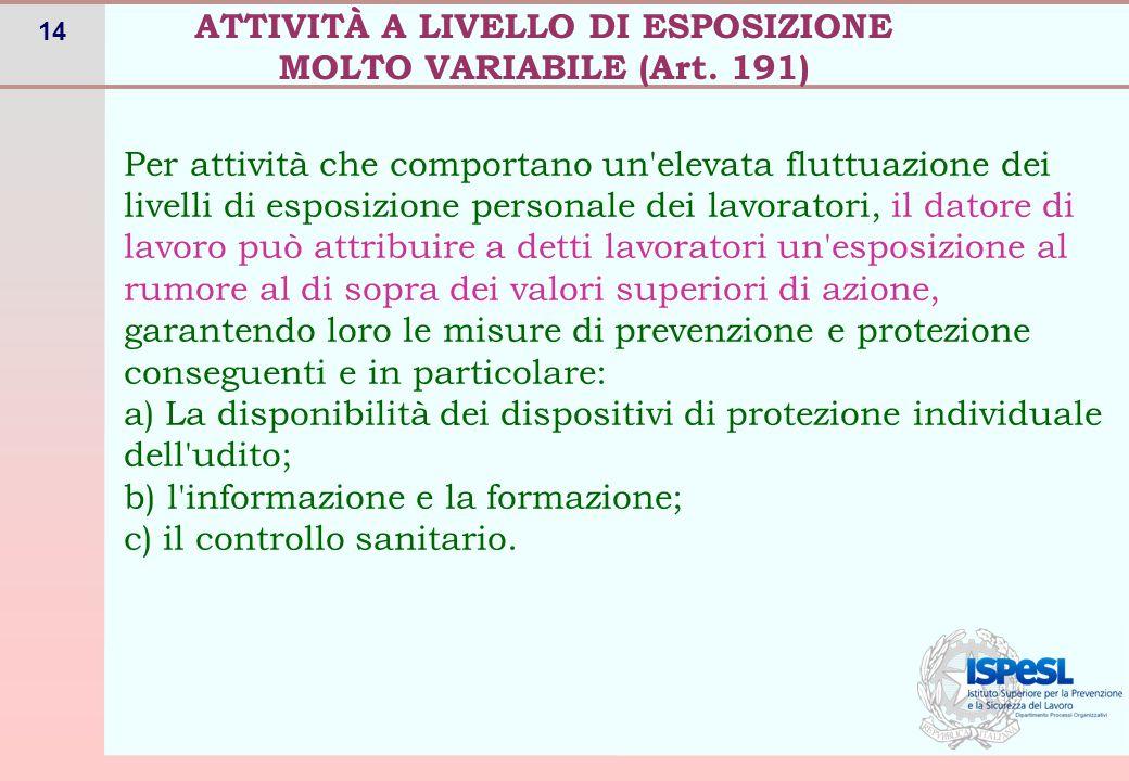 ATTIVITÀ A LIVELLO DI ESPOSIZIONE MOLTO VARIABILE (Art. 191)