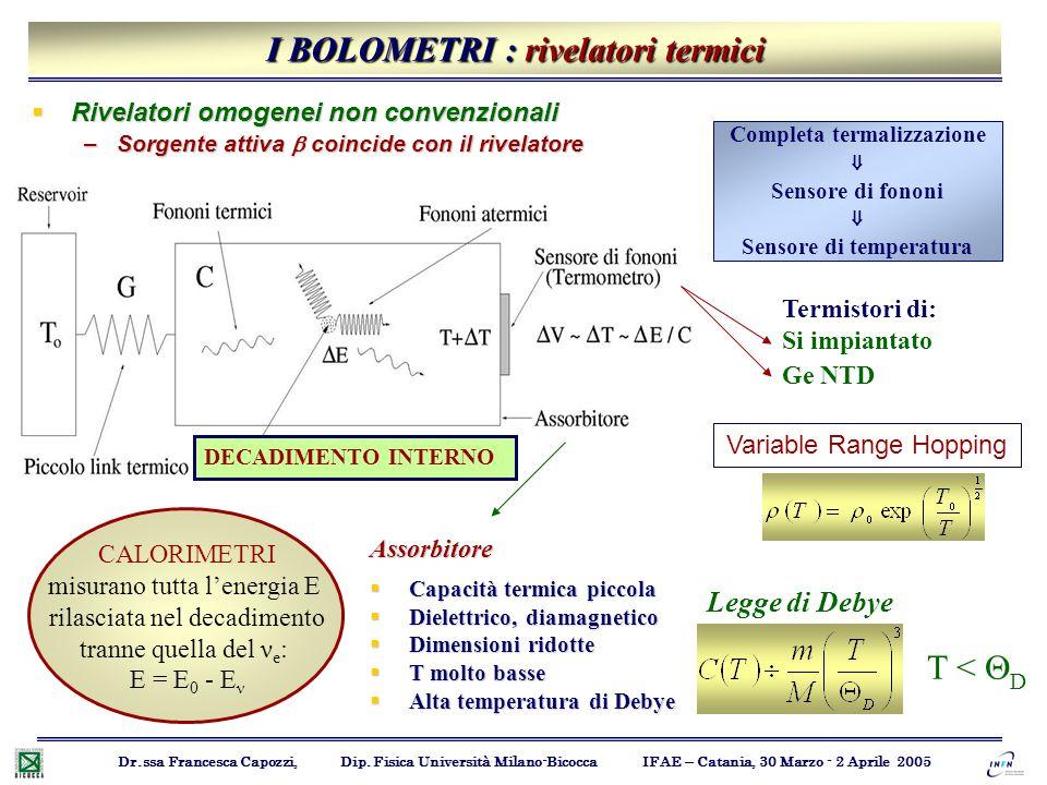 I BOLOMETRI : rivelatori termici