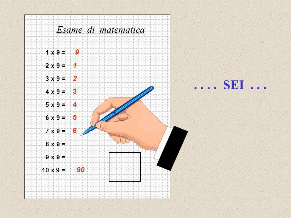 . . . . SEI . . . Esame di matematica 1 x 9 = 9 2 x 9 = 1 3 x 9 = 2