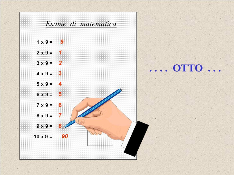 . . . . OTTO . . . Esame di matematica 1 x 9 = 9 2 x 9 = 1 3 x 9 = 2