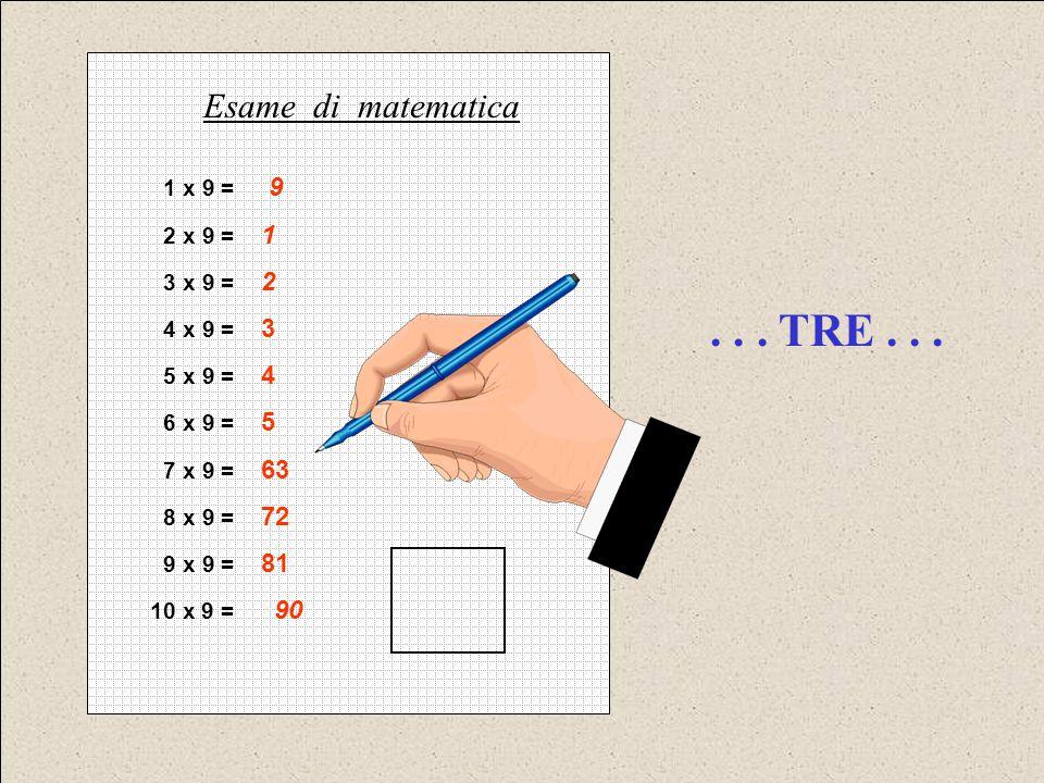. . . TRE . . . Esame di matematica 1 x 9 = 9 2 x 9 = 1 3 x 9 = 2