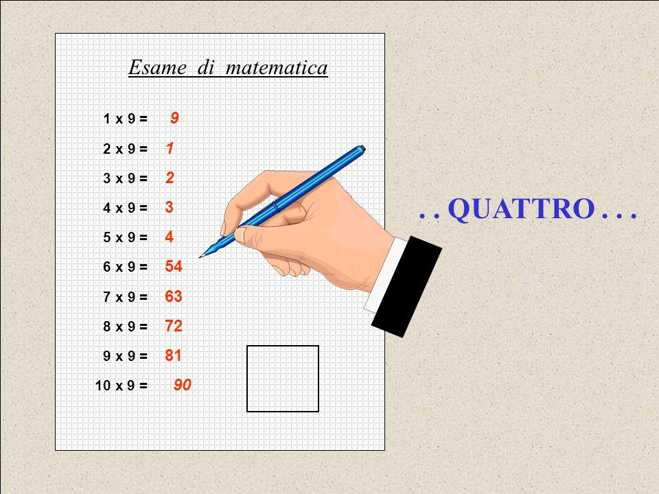 . . QUATTRO . . . Esame di matematica 1 x 9 = 9 2 x 9 = 1 3 x 9 = 2