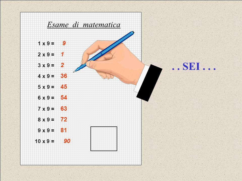 . . SEI . . . Esame di matematica 1 x 9 = 9 2 x 9 = 1 3 x 9 = 2
