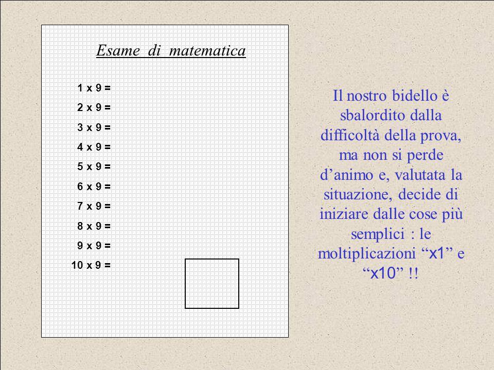 Esame di matematica 1 x 9 = 2 x 9 = 3 x 9 = 4 x 9 = 5 x 9 = 6 x 9 = 7 x 9 = 8 x 9 = 9 x 9 =