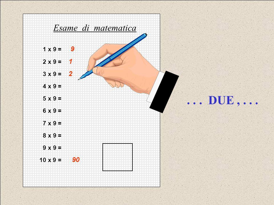 . . . DUE , . . . Esame di matematica 1 x 9 = 9 2 x 9 = 1 3 x 9 = 2