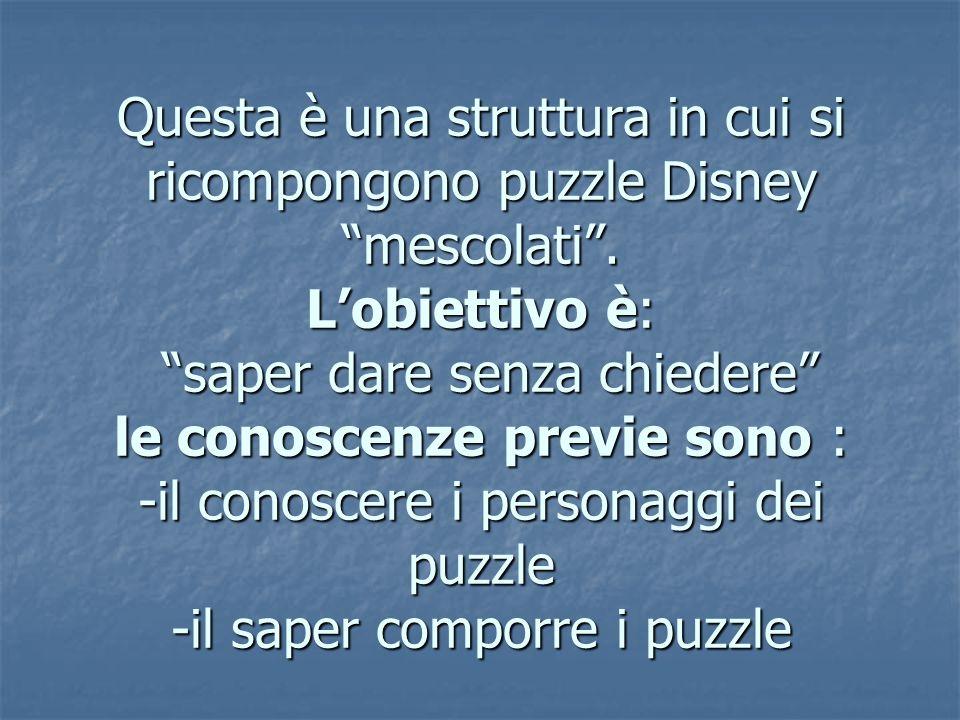 Questa è una struttura in cui si ricompongono puzzle Disney mescolati .