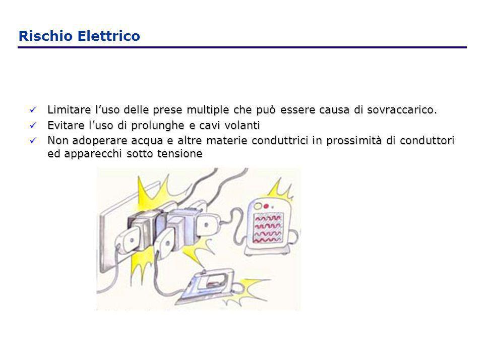 Rischio ElettricoLimitare l'uso delle prese multiple che può essere causa di sovraccarico. Evitare l'uso di prolunghe e cavi volanti.