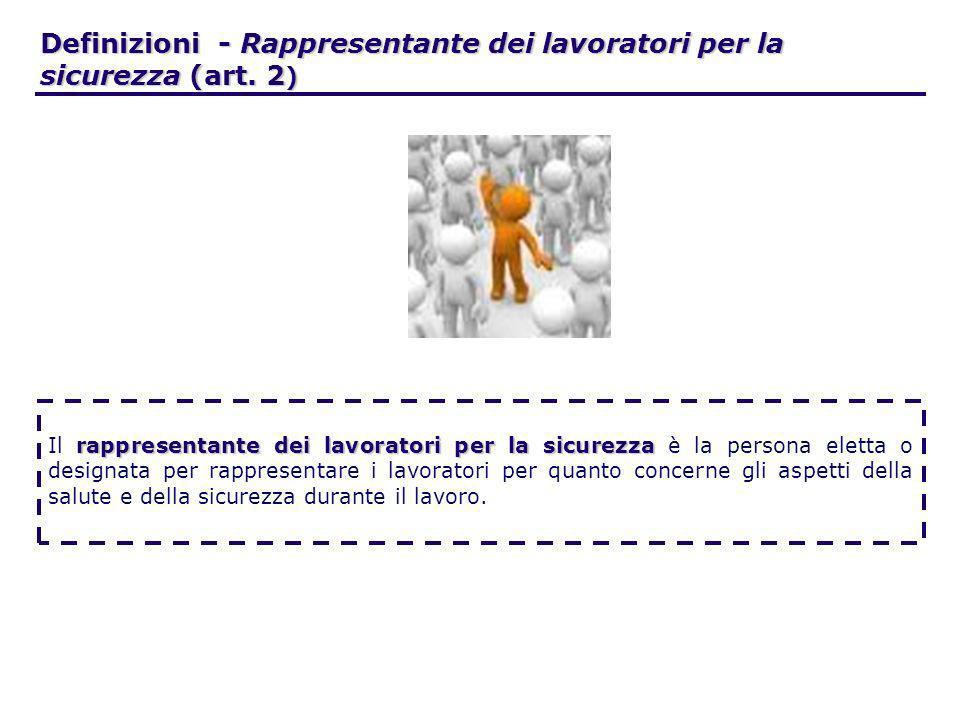 Definizioni - Rappresentante dei lavoratori per la sicurezza (art. 2)