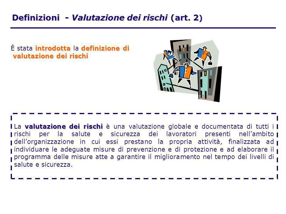Definizioni - Valutazione dei rischi (art. 2)