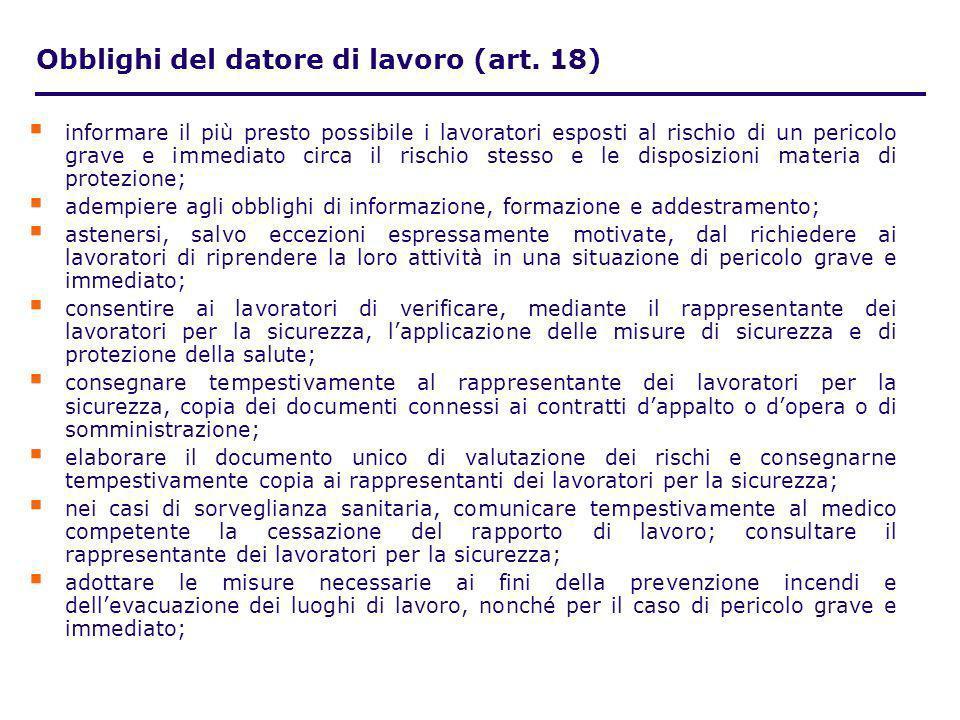 Obblighi del datore di lavoro (art. 18)