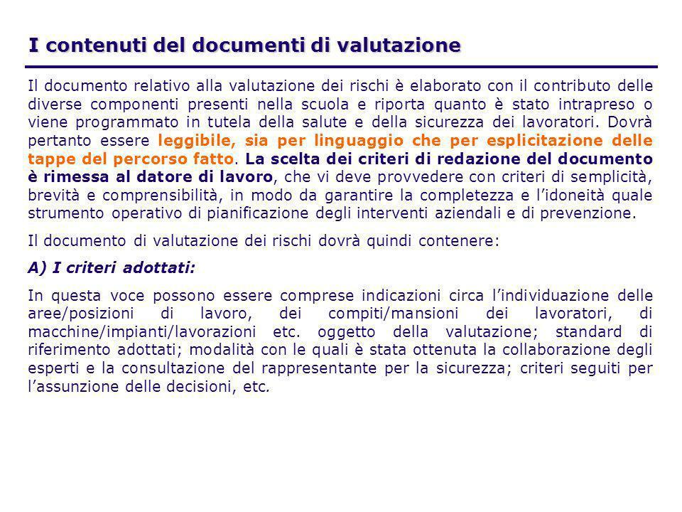 I contenuti del documenti di valutazione
