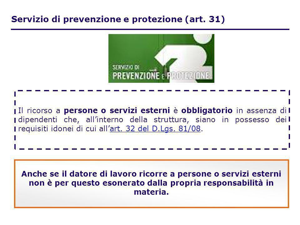 Servizio di prevenzione e protezione (art. 31)