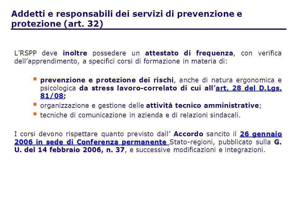 Addetti e responsabili dei servizi di prevenzione e protezione (art