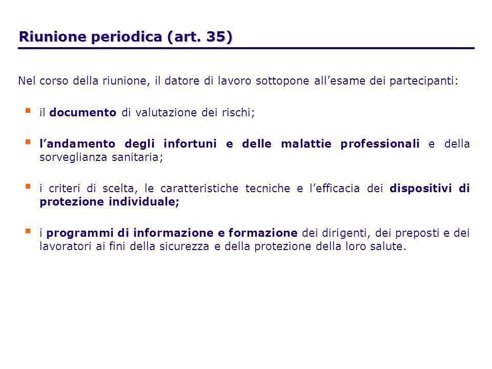 Riunione periodica (art. 35)