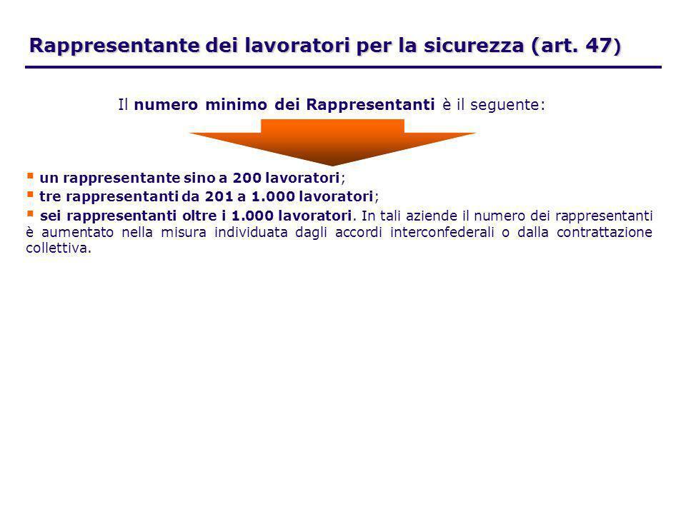 Rappresentante dei lavoratori per la sicurezza (art. 47)