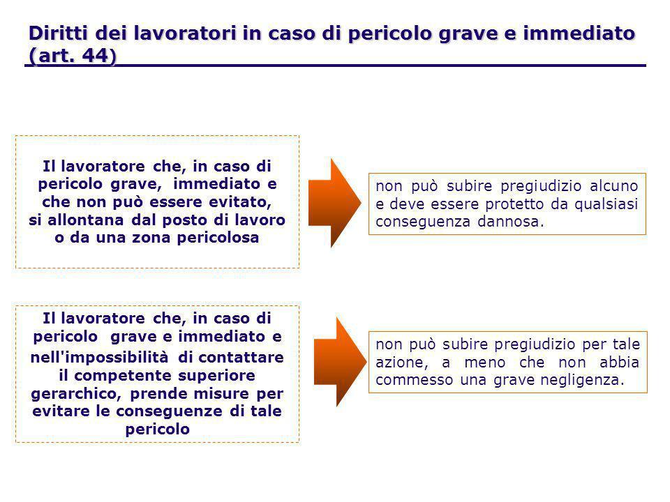 Diritti dei lavoratori in caso di pericolo grave e immediato (art. 44)